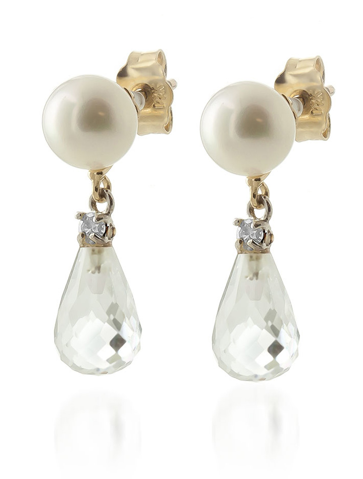 Pearl, Diamond and White Topaz Stud Earrings 6.5ctw in 9ct Gold