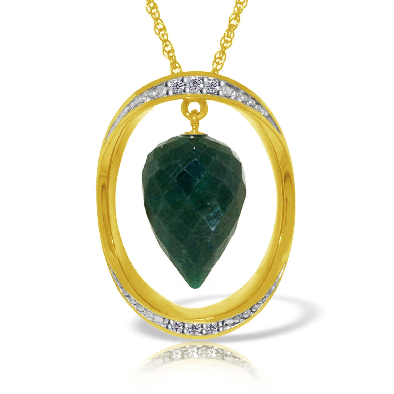 Emerald and Diamond Pendant Necklace 13.0ct in 9ct Gold