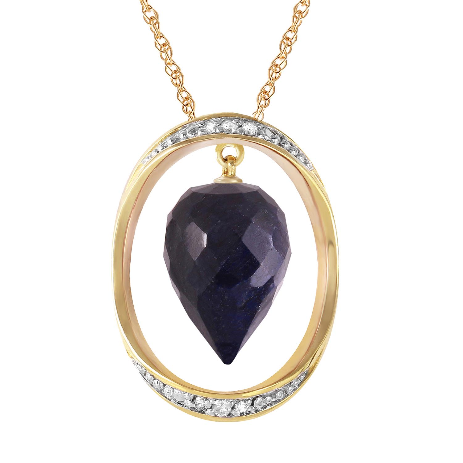 Sapphire and Diamond Pendant Necklace 13.0ct in 9ct Gold