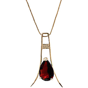 9ct Gold Eiffel Necklace with 1.50ct Garnet Pendant