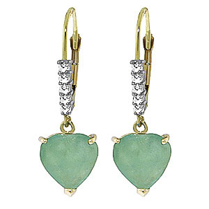 Green Diamond and Emerald Drop Earrings in 9ct Gold