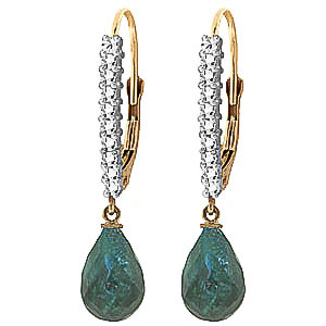 Green Diamond and Emerald Laced Stem Drop Earrings in 9ct Gold