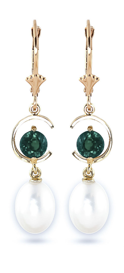 Pearl and Emerald Drop Earrings 9.0ctw in 9ct Gold