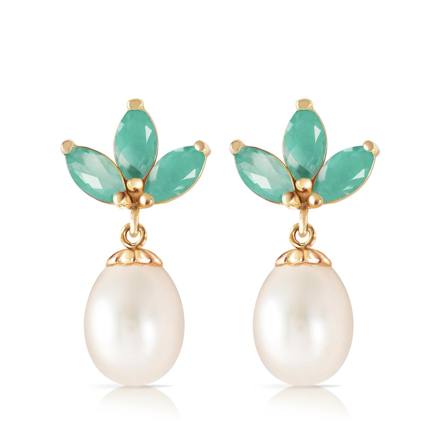 Pearl and Emerald Petal Drop Earrings 9.5ctw in 9ct Gold