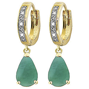Diamond and Emerald Droplet Huggie Earrings in 9ct Gold