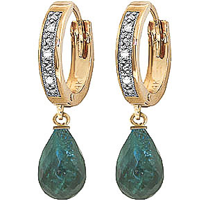 Diamond and Emerald Earrings in 9ct Gold