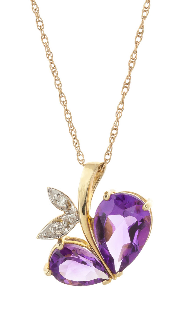 Amethyst and Diamond Eternal Pendant Necklace 4.0ctw in 9ct Gold