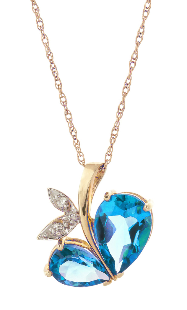Blue Topaz and Diamond Eternal Pendant Necklace 5.2ctw in 9ct Gold