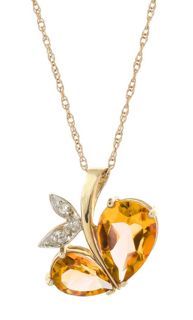 Citrine and Diamond Eternal Pendant Necklace 4.0ctw in 9ct Gold