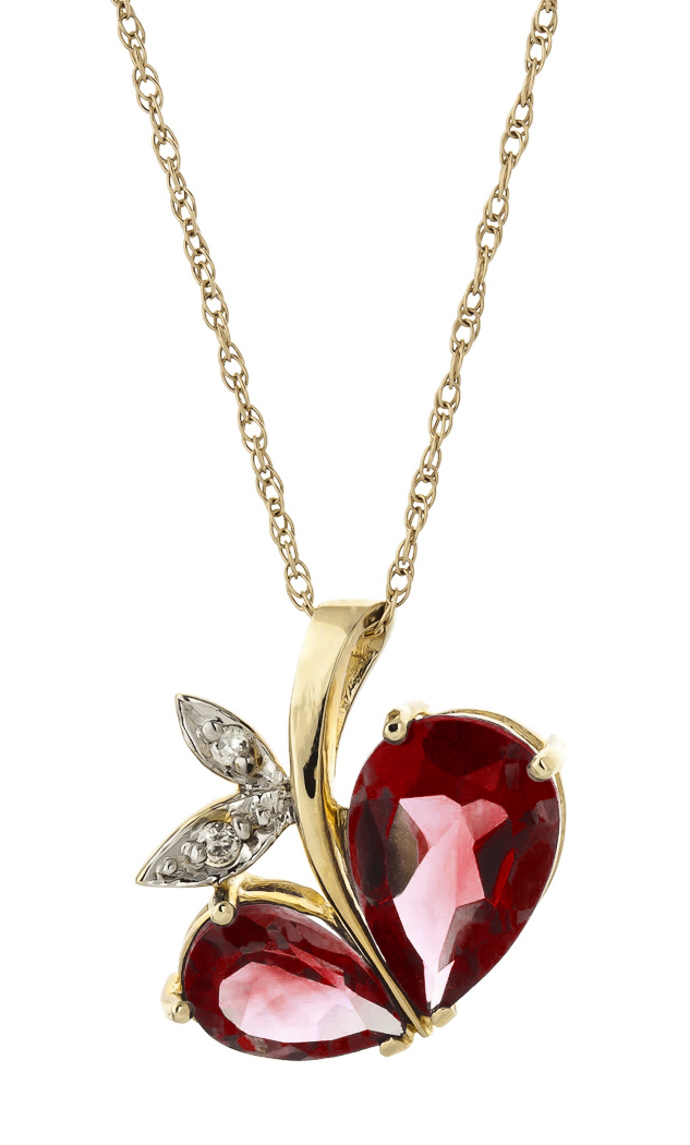 Garnet and Diamond Eternal Pendant Necklace 5.0ctw in 9ct Gold