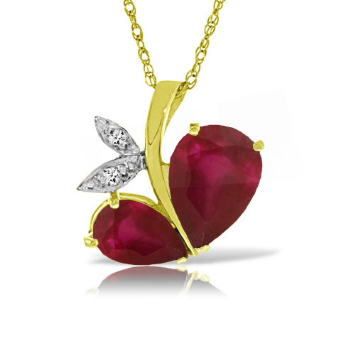 Ruby and Diamond Eternal Pendant Necklace 5.3ctw in 9ct Gold