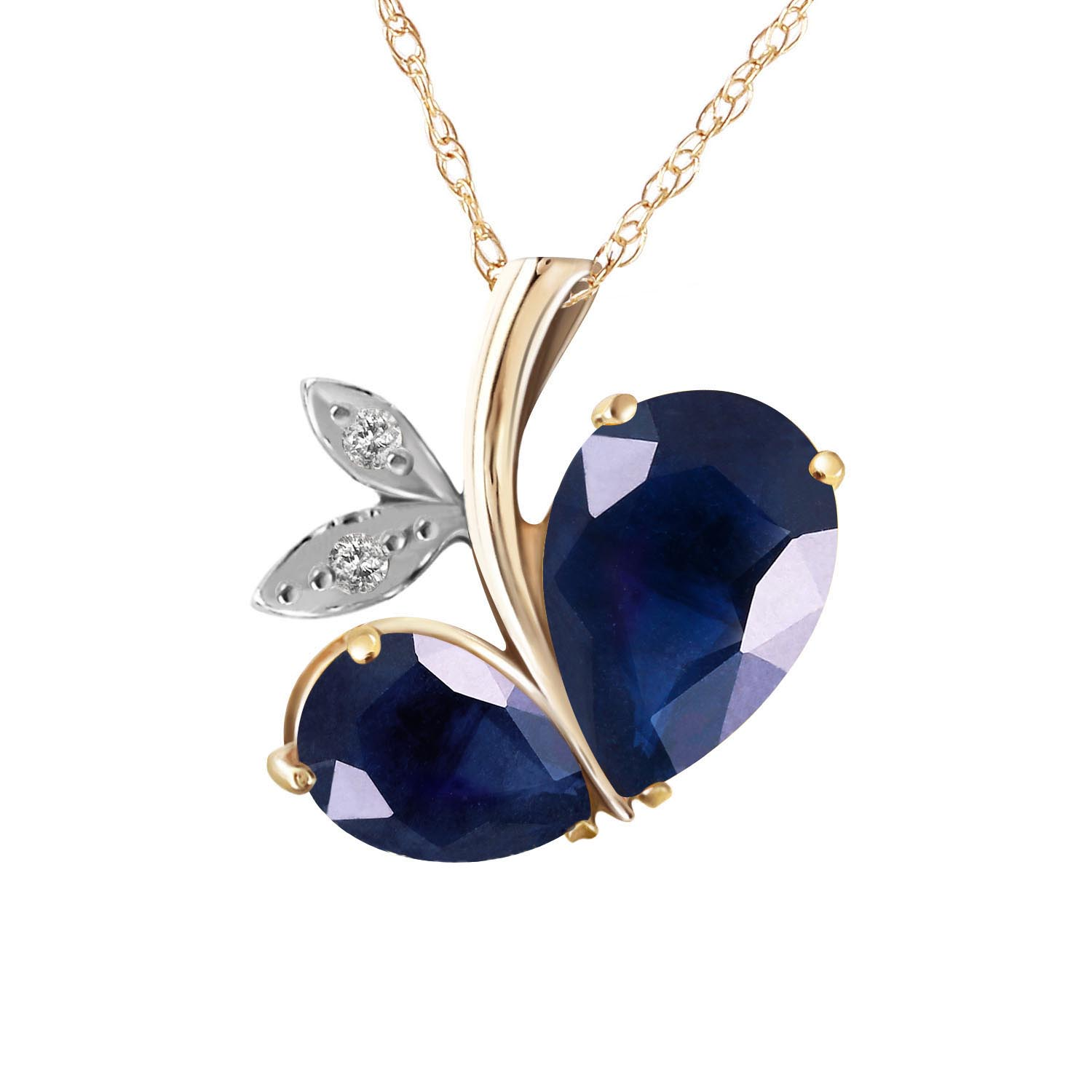 Sapphire and Diamond Eternal Pendant Necklace 5.3ctw in 9ct Gold