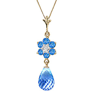 Blue Topaz and Diamond Flower Pendant Necklace 2.75ctw in 9ct Gold