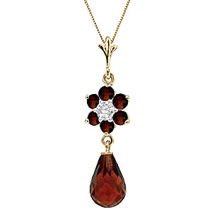 Garnet and Diamond Flower Pendant Necklace 2.75ctw in 9ct Gold