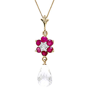 White Topaz, Ruby and Diamond Flower Pendant Necklace 2.75ctw in 9ct Gold