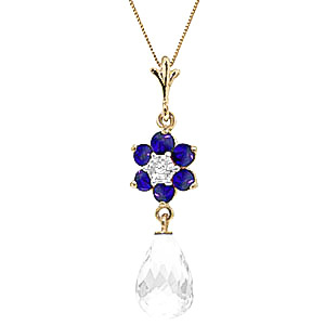 White Topaz, Sapphire and Diamond Flower Pendant Necklace 2.75ctw in 9ct Gold