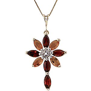 Garnet, Diamond and Citrine Flower Cross Pendant Necklace 1.98ctw in 9ct Gold