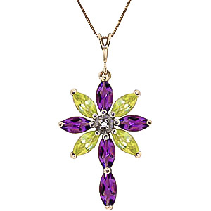 Amethyst, Diamond and Peridot Flower Cross Pendant Necklace 1.98ctw in 9ct Gold