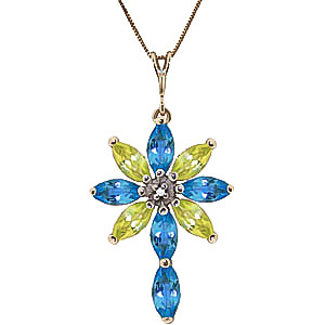 Blue Topaz, Diamond and Peridot Flower Cross Pendant Necklace 1.98ctw in 9ct Gold