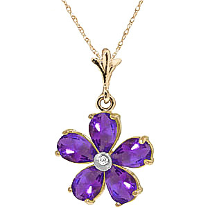Amethyst and Diamond Flower Petal Pendant Necklace 2.2ctw in 9ct Gold