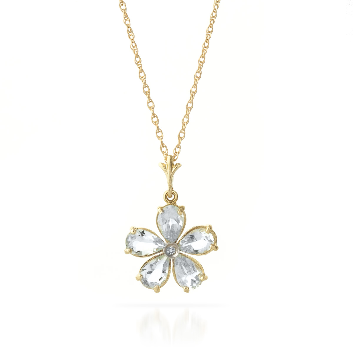 Aquamarine and Diamond Flower Petal Pendant Necklace 2.2ctw in 9ct Gold