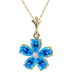 Blue Topaz and Diamond Flower Petal Pendant Necklace 2.2ctw in 9ct Gold