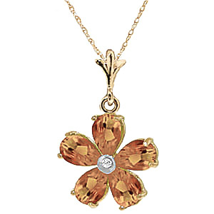 Citrine and Diamond Flower Petal Pendant Necklace 2.2ctw in 9ct Gold