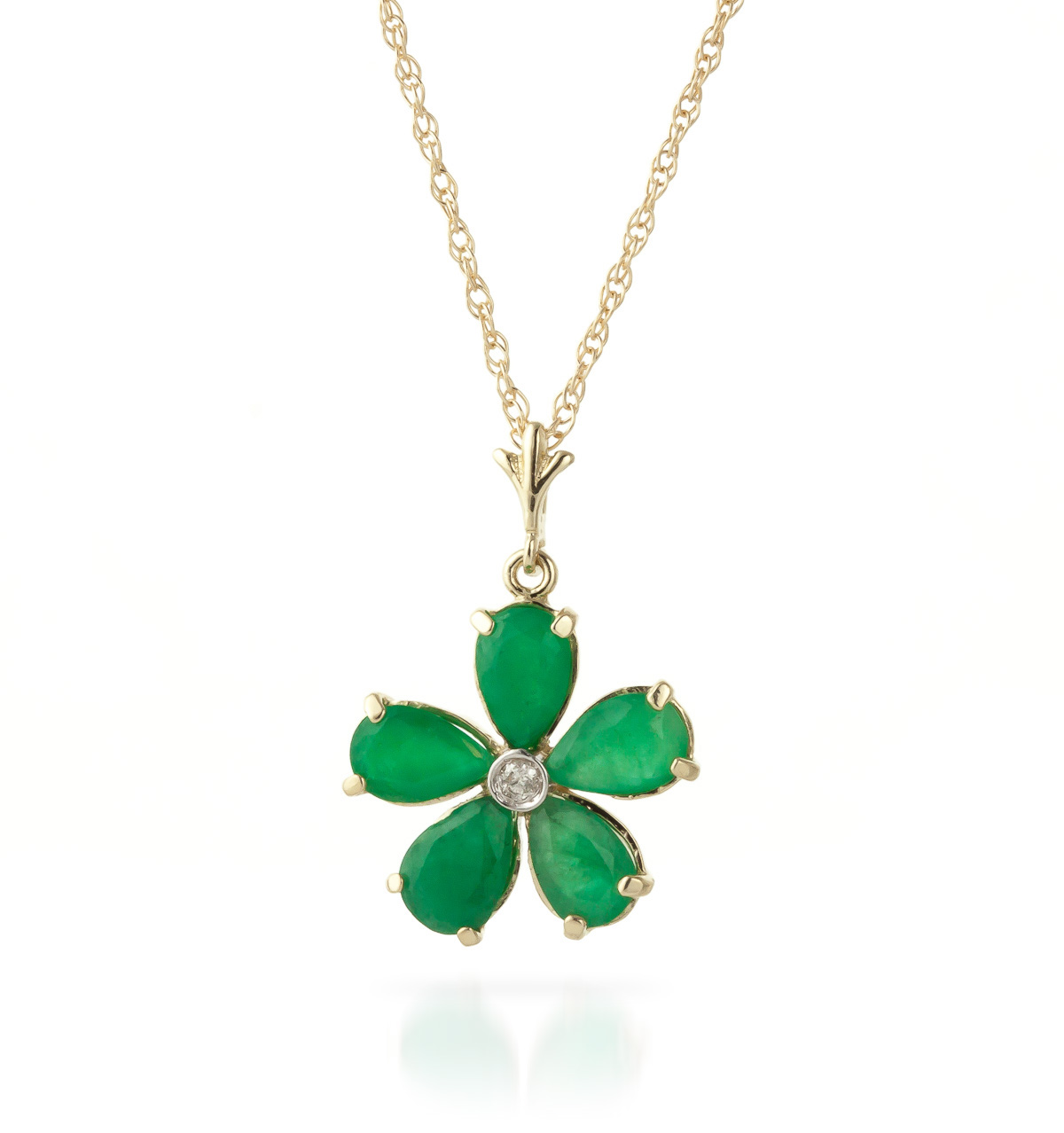 Emerald and Diamond Flower Petal Pendant Necklace 2.2ctw in 9ct Gold