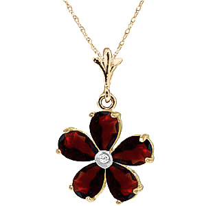 Garnet and Diamond Flower Petal Pendant Necklace 2.2ctw in 9ct Gold