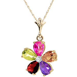 Gemstone and Diamond Flower Petal Pendant Necklace 2.2ctw in 9ct Gold