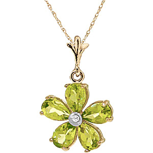 Peridot and Diamond Flower Petal Pendant Necklace 2.2ctw in 9ct Gold