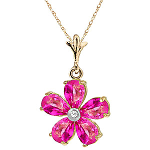 Pink Topaz and Diamond Flower Petal Pendant Necklace 2.2ctw in 9ct Gold
