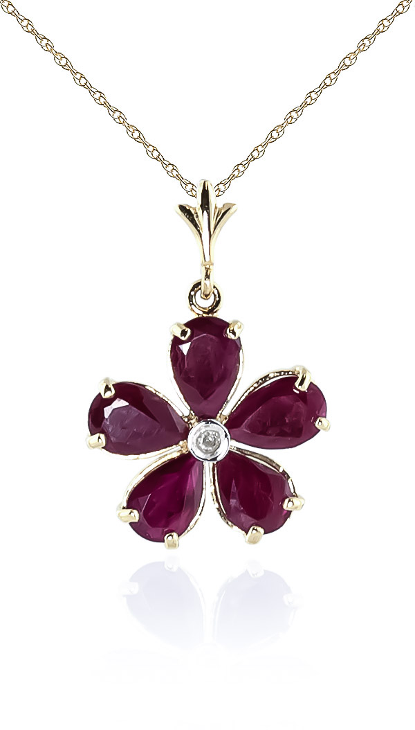 Ruby and Diamond Flower Petal Pendant Necklace 2.2ctw in 9ct Gold