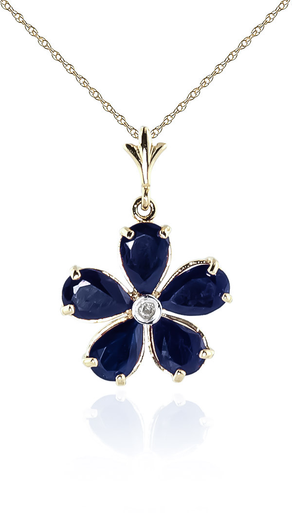 Image of Sapphire and Diamond Flower Petal Pendant Necklace 2.2ctw in 9ct Gold