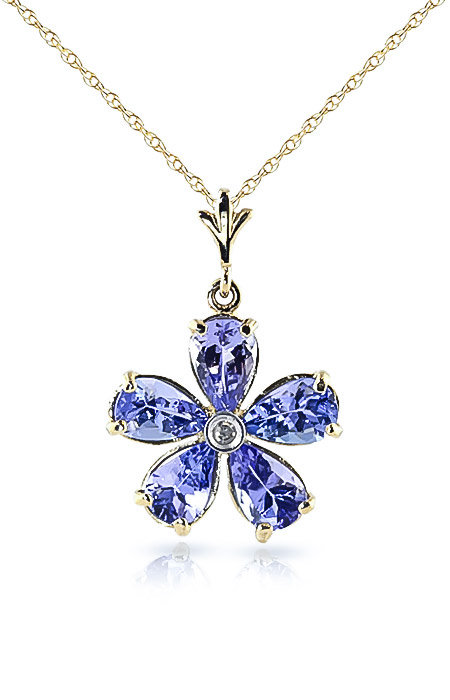 Tanzanite and Diamond Flower Petal Pendant Necklace 2.2ctw in 9ct Gold