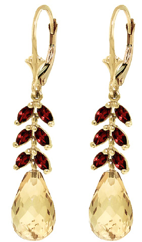 Citrine and Garnet Drop Earrings 11.2ctw in 9ct Gold