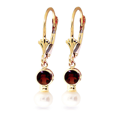 Pearl and Garnet Drop Earrings 2.7ctw in 9ct Gold