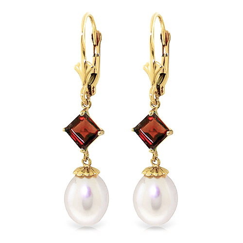 Pearl and Garnet Droplet Earrings 9.5ctw in 9ct Gold