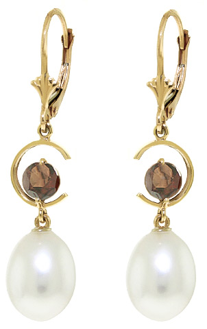 Pearl and Garnet Drop Earrings 9.0ctw in 9ct Gold