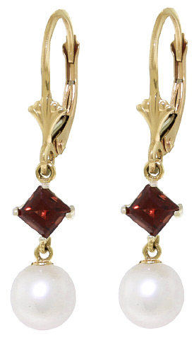 Pearl and Garnet Drop Earrings 5.0ctw in 9ct Gold
