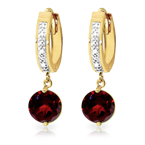 Diamond and Garnet Huggie Earrings in 9ct Gold