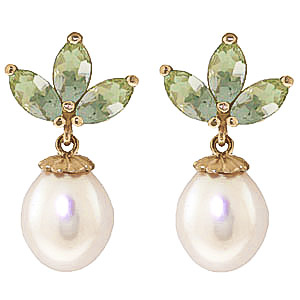 Pearl and Green Amethyst Petal Drop Earrings 9.5ctw in 9ct Gold