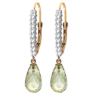 Diamond and Green Amethyst Laced Stem Drop Earrings in 9ct Gold