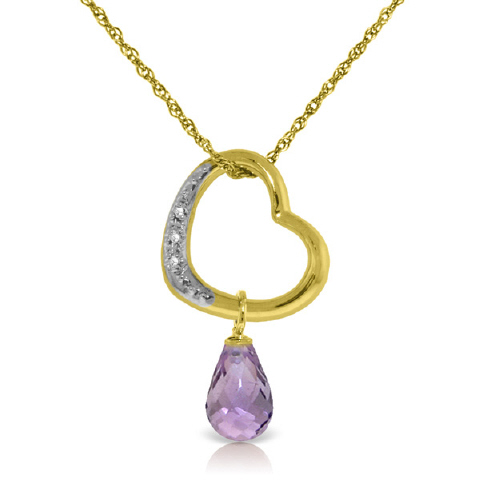 Amethyst and Diamond Pendant Necklace 2.25ct in 9ct Gold