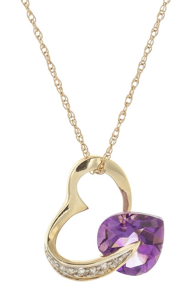 Amethyst and Diamond Pendant Necklace 3.1ct in 9ct Gold