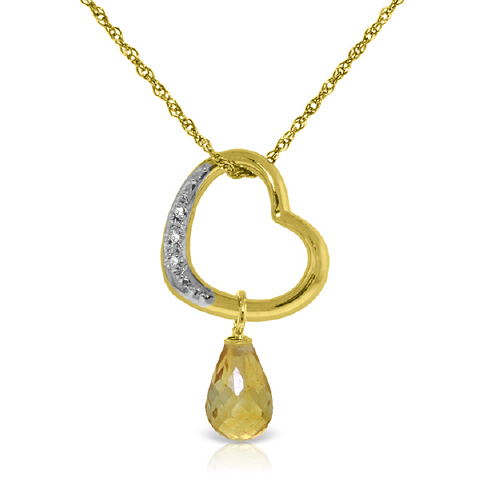 Citrine and Diamond Pendant Necklace 2.25ct in 9ct Gold