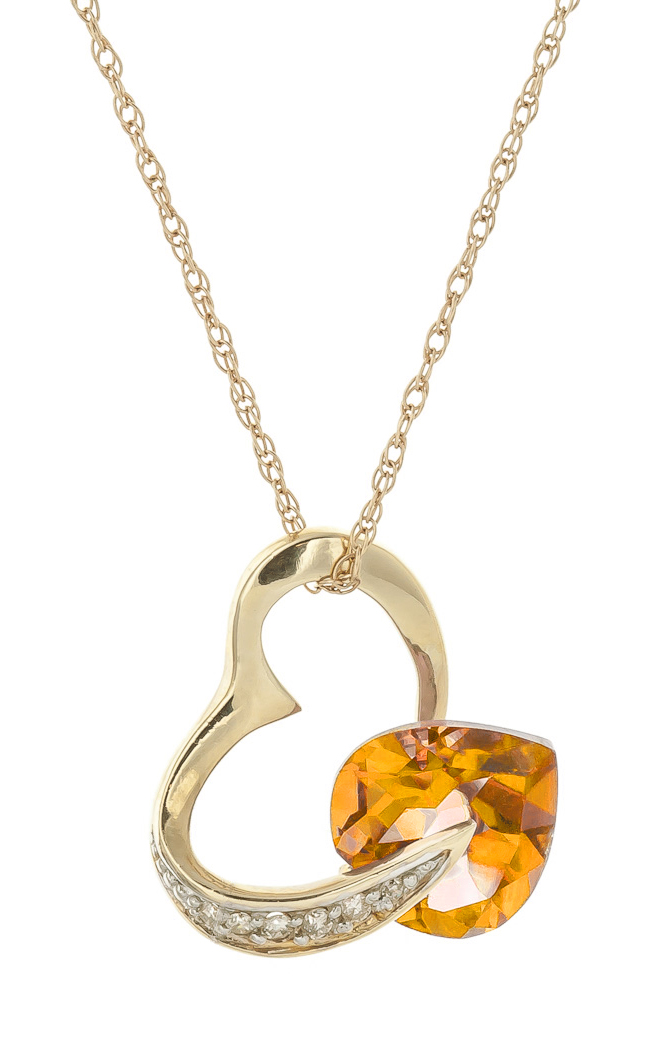 Citrine and Diamond Pendant Necklace 3.1ct in 9ct Gold