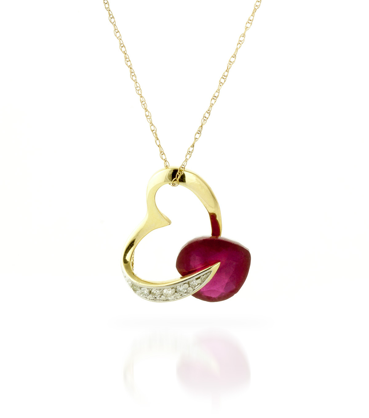 Ruby and Diamond Pendant Necklace 4.3ct in 9ct Gold