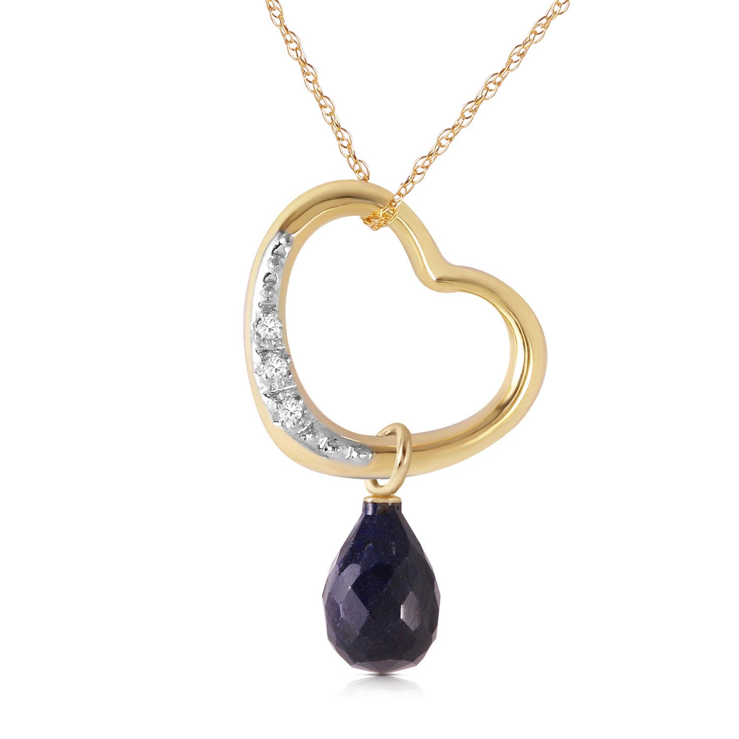 Sapphire and Diamond Pendant Necklace 3.3ct in 9ct Gold