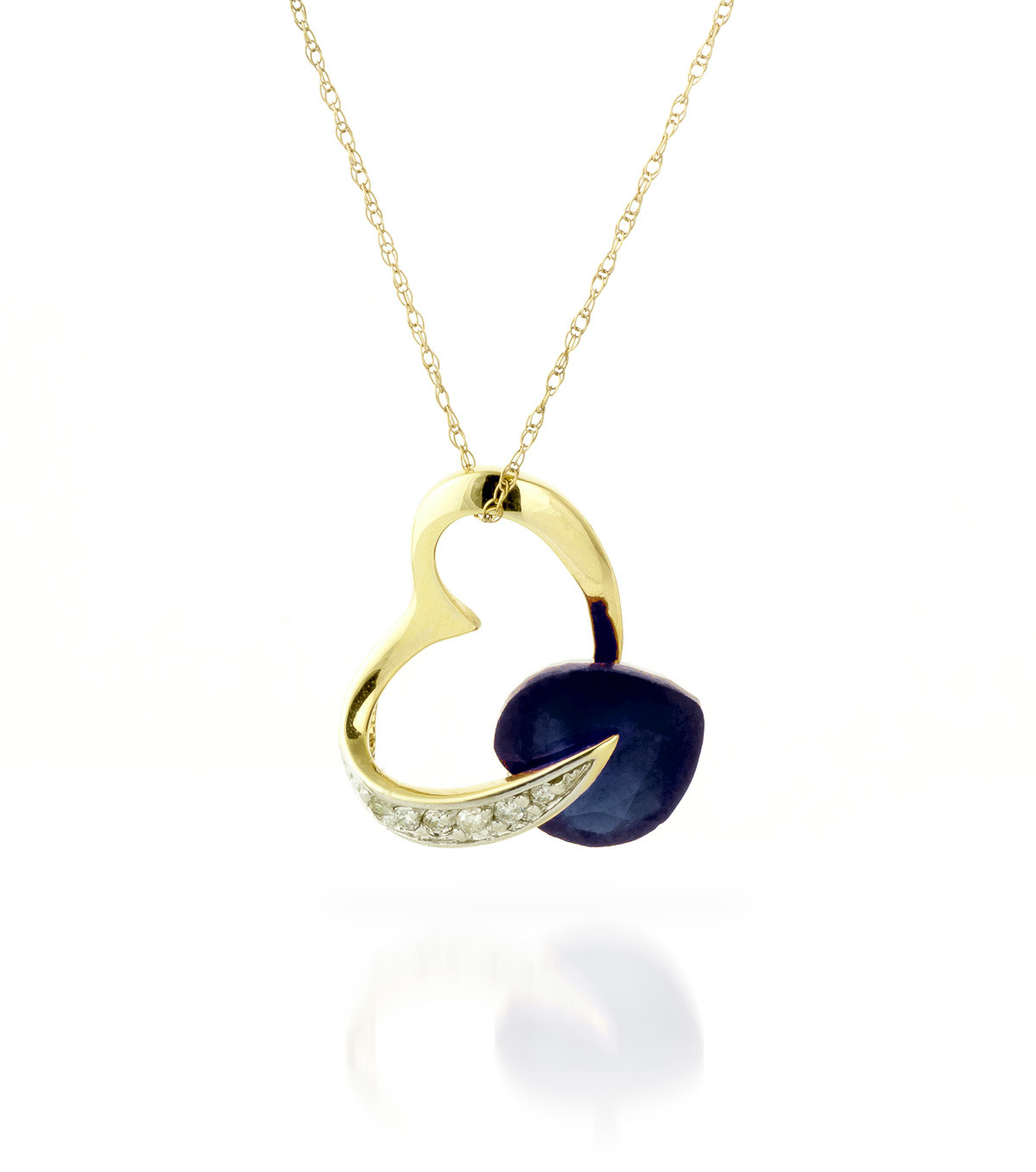 Sapphire and Diamond Pendant Necklace 4.3ct in 9ct Gold